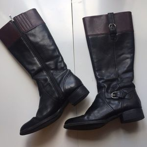 Arias sz 8.5 black brown zippered riding boots